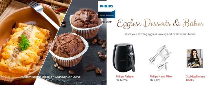 Eggless Desert and bakes recipe contest, chance to win Philips air fryer  http://www.contestnews.in/eggless-desert-bakes-contest-chance-win-air-fryer/