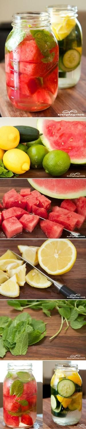 Detox Drinks To Lose Weight: Make Your Own Detox Drink for Daily Enjoyment Cleansing. Recipe. Included: Watermelon/cucumber, lemon/lime, mint leaves, and water #weightloss #weightloss by proteamundi
