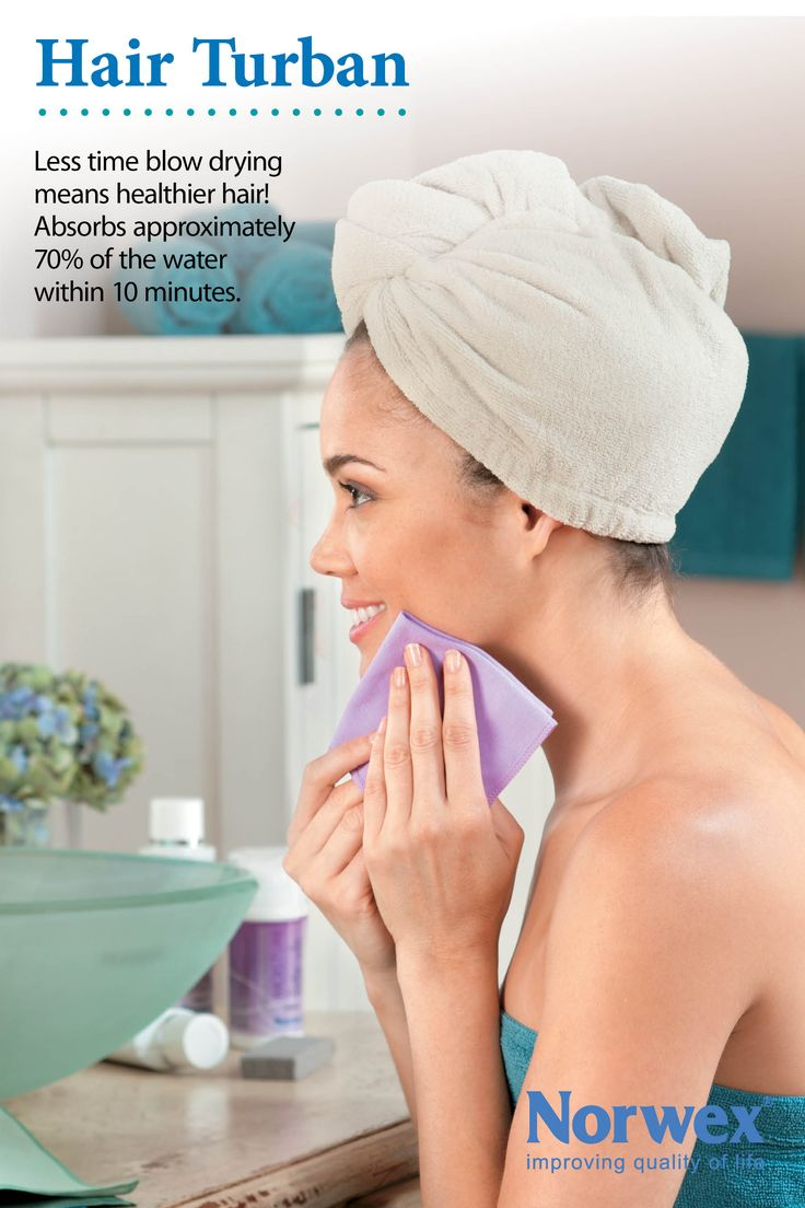 Norwex Hair Turban Use for drying hair * Highly absorbent hooded towel * Can absorb 70% of moisture reducing blow-drying time * Fewer tangles in hair * Comfortably holds rollers in at night * Great for people with long or thick hair * Less blow-drying means healthier hair www.norwex.com
