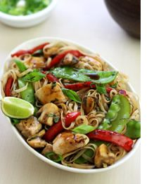 "Thai Lime Pepper Chicken Stir-Fry:  ""This vibrantly-flavored Thai stir-fry combines chicken and a selection of colorful vegetables with black pepper, lime, basil and other traditional seasonings"""
