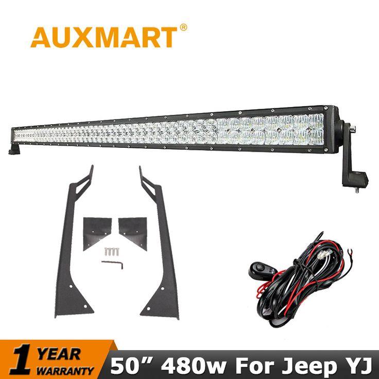 Auxmart LED Light Bar For Jeep Wrangler YJ 1987-1995 50inch 5D 480W LED Work Light Bar Offroad Driving fog lamp Mount Bracket