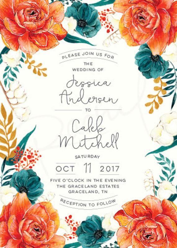 Wedding Invitation Printable Set Vintage Rustic Orange Floral In 2020 Printable Wedding Invitations Orange Wedding Colors Vintage Wedding Invitations