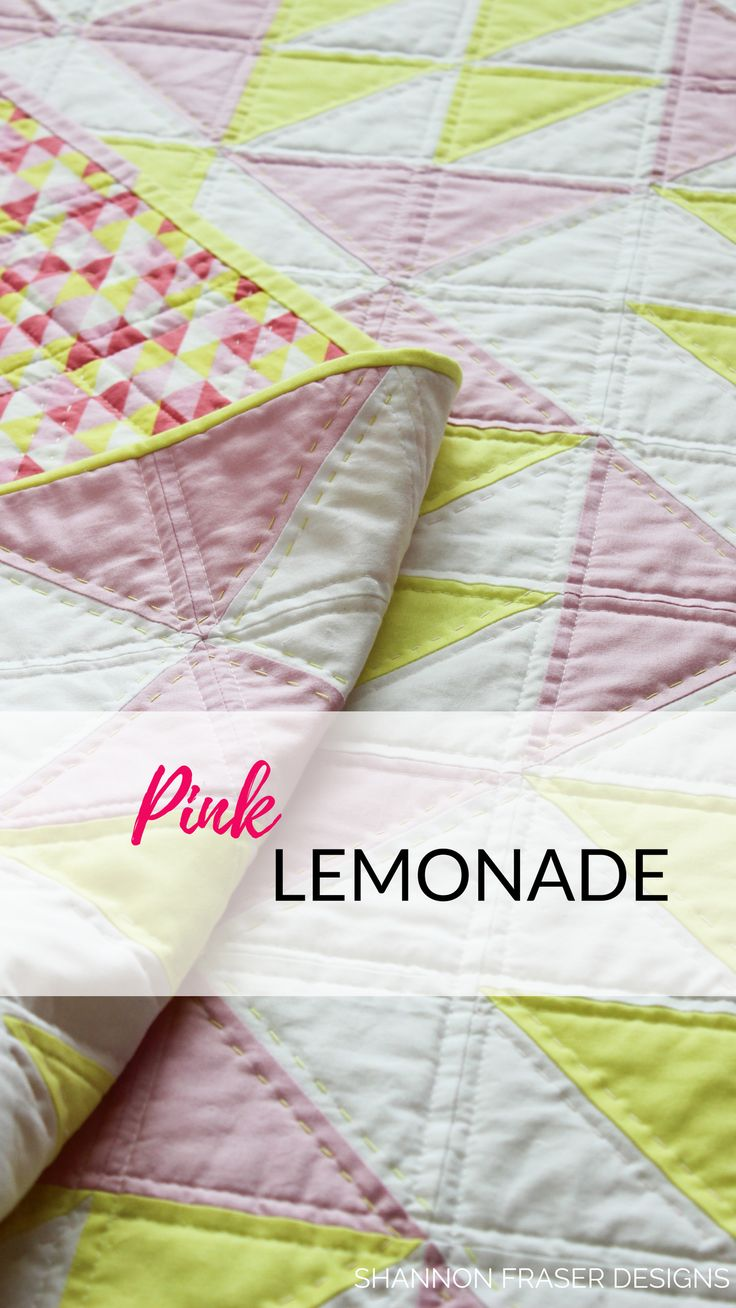 The Pink Lemonade quilt is a modern quilt pattern perfect for beginners. Practice your half square triangles and be amazed at how quick this quilt stitches up! Sizes include: Baby, Lap, Twin, Double, Queen quilts. #modernquiltpattern #quilting #quiltpattern #modernquilt