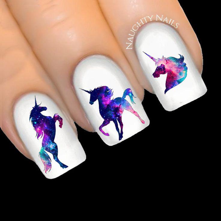 UNICORN Galaxy - ENCHANTED Silhouette Nail Water Transfer Decal Sticker Art Tatt