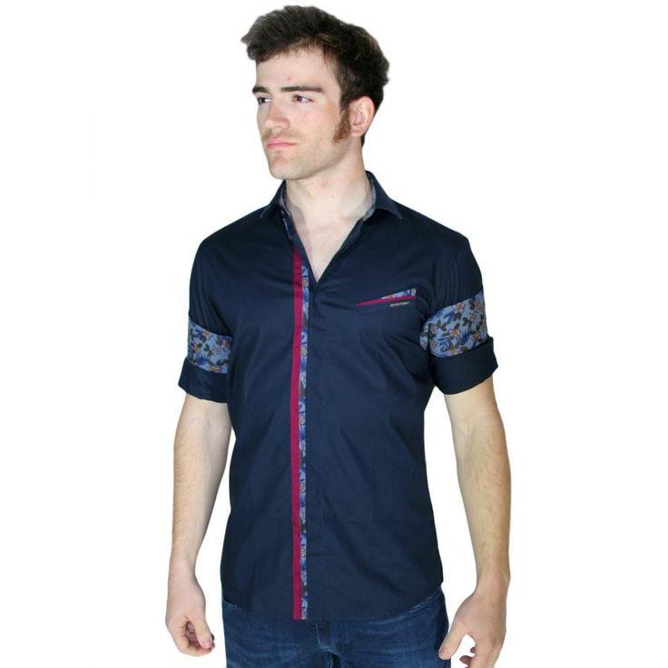 STEFAN Ελαστικό slim fit πουκάμισο, φλοράλ μανίκια
