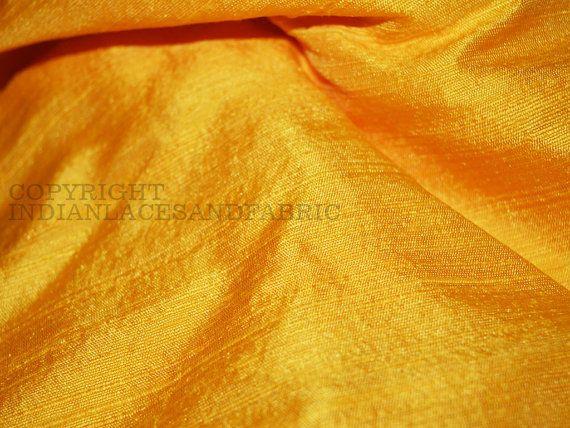 Dupioni Silk fabric in Yellow   raw silk by Indianlacesandfabric