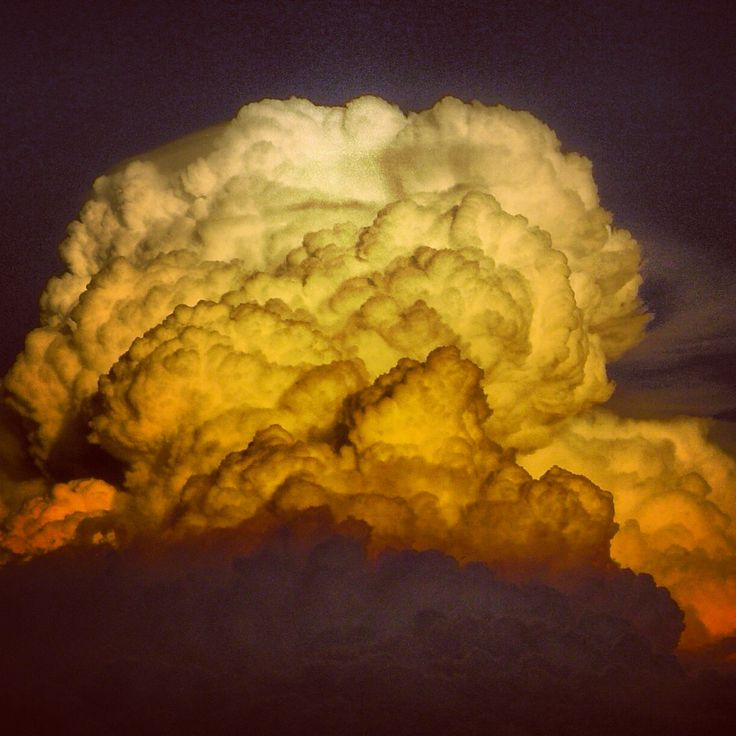 Clouds. Explosions in the sky.