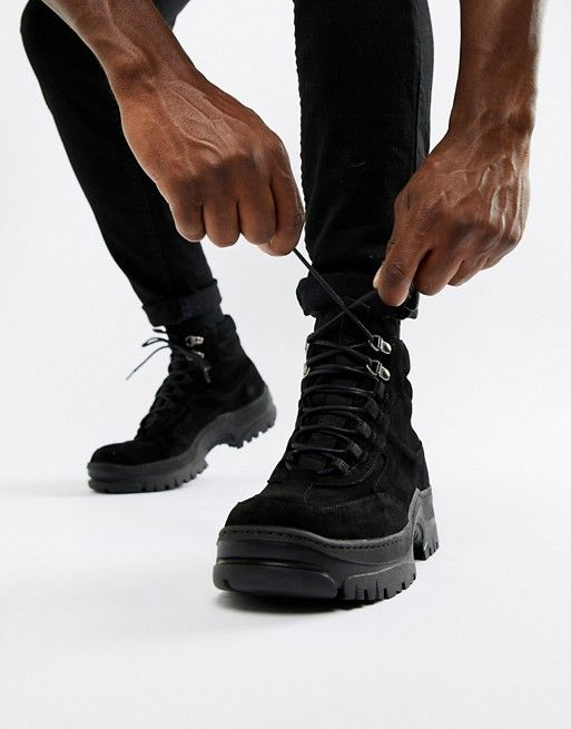 0e88a91c935 DESIGN sneaker boot in black nubuck with chunky sole | Shoes mens ...