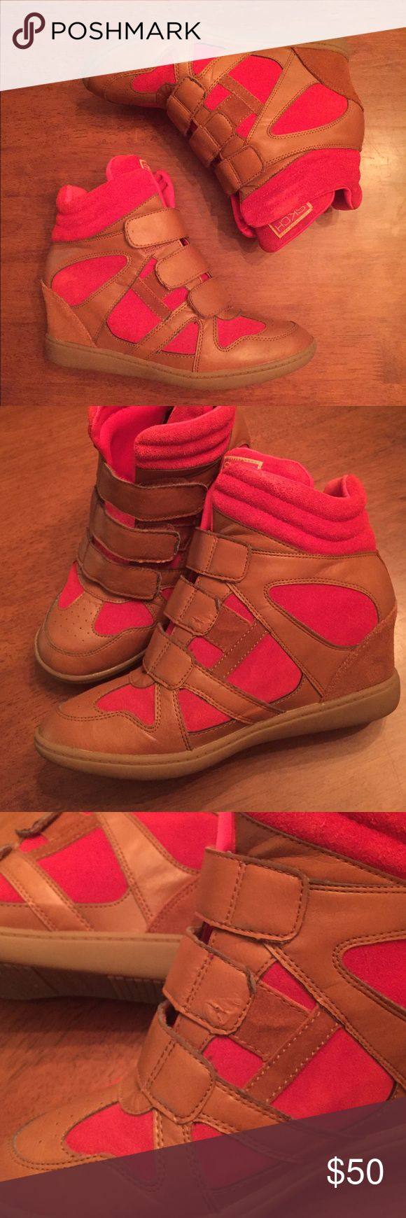 Brown and Red Skechers Wedge Sneakers Comfortable wedge sneakers in very good condition - only worn twice! There is a small tear on the middle velcro strap, which is visible in the second and third picture but barely noticeable when worn Skechers Shoes Sneakers