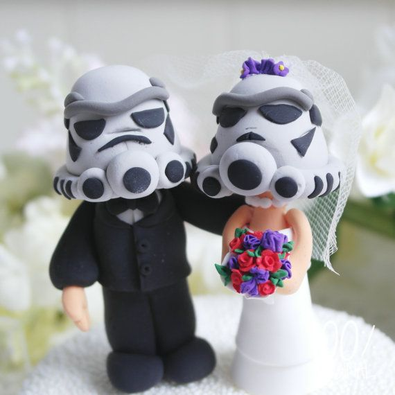 Custom Wedding Cake Topper - Star troopers couple