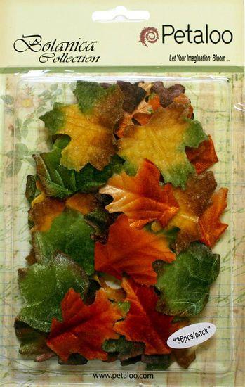 "Leaves Fall fabric leaves bulk  - Velvet leaves - 1.5"" (36 pcs) 1161-300 Fall decorations DIY flower supplies Fall leaf pack"