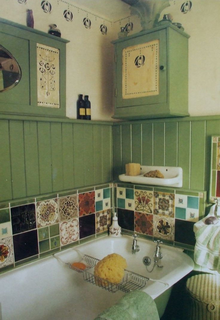 Country Style Bathroom Interior With Green Wainscoting And Ceramic Patchwork : Considering The Best Bathroom Interior Designs