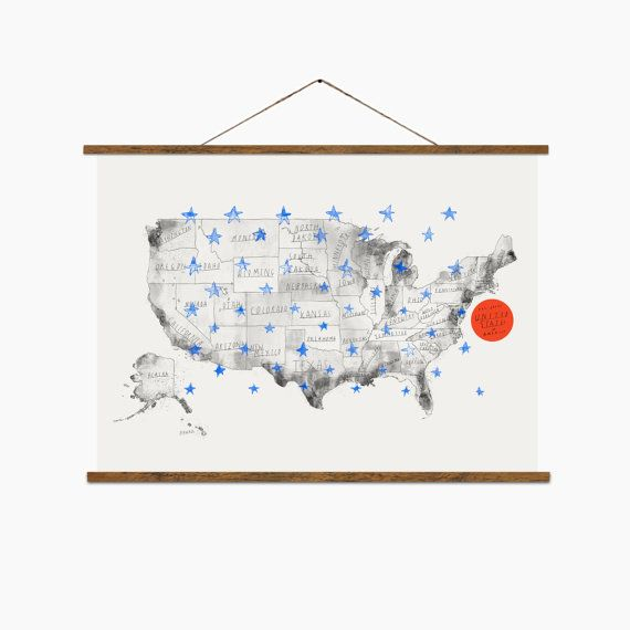 United States Hand drawn map USA map by BalticClub on Etsy