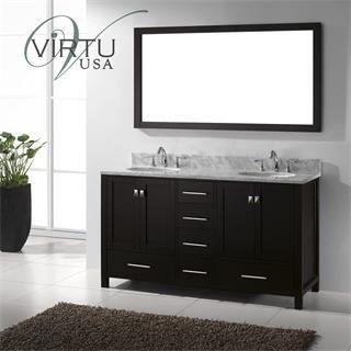 Digital Art Gallery Virtu USA GD WMRO Caroline Avenue Double Round Sink Bathroom Vanity with Italian Carrara Marble Top Vanity Top Included