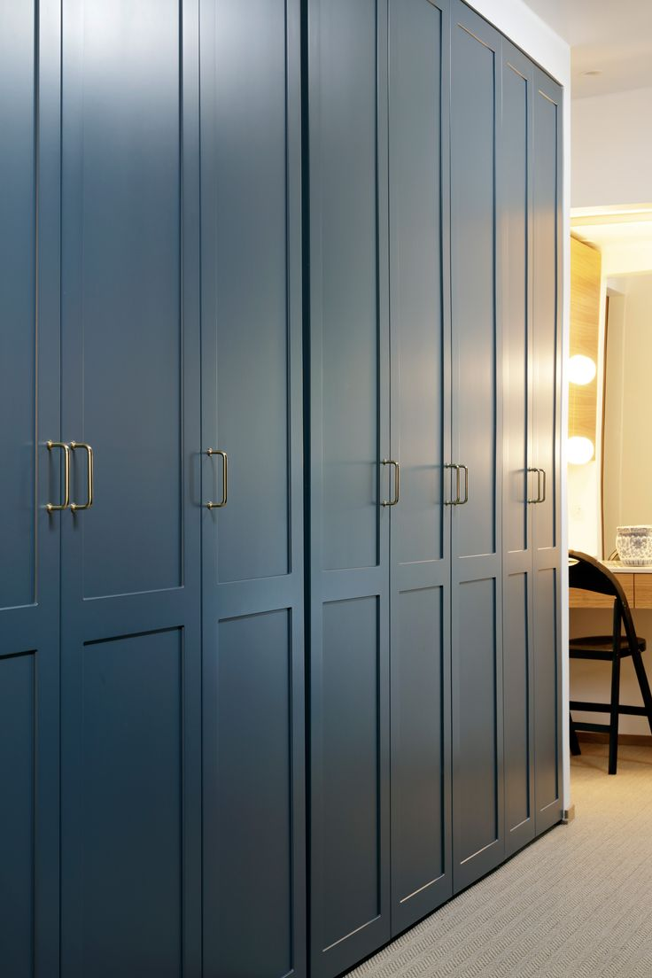 We all deserve a little luxury, don't we? A long row of A.S.Helsingö ENSIÖ wardrobes in the Petrol Blue. Click on the image for more inspiration.