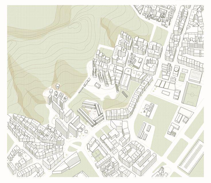 Barcelona Tres Turons, University of Genova 2015, masterplan. M. Di Sibio, E. Giuliano, G. Grasso, C. Mondin