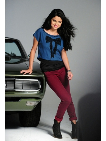 flocked bow top/Selena Gomez in Dream Out Loud Fall 2012 Photoshoot