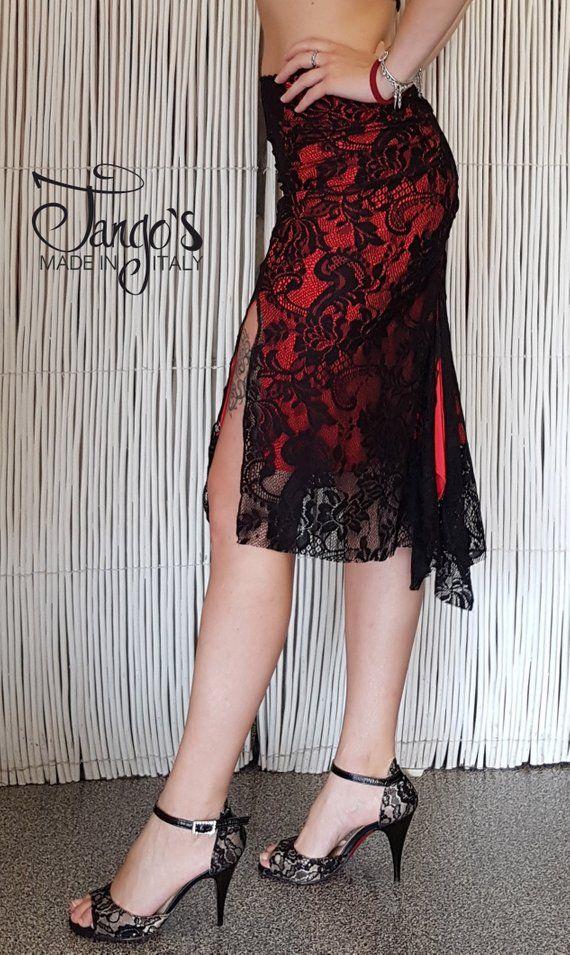 583cc13a12a1 Tango s Gonna Lyra Pizzo Nero e Rossa   Tango Skirt