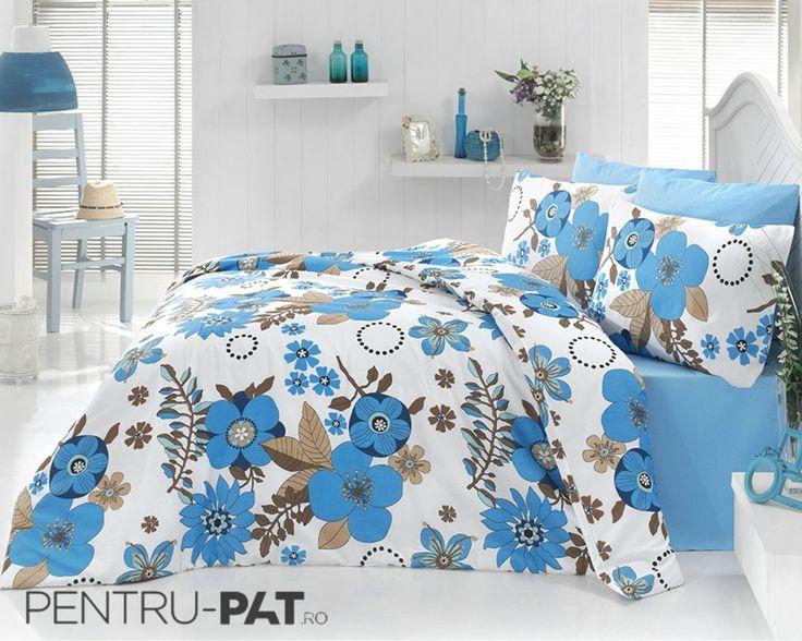 Set cuvertura pat pentru o persoana Anatolia blue & white