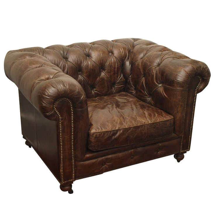 Belgian Leather Sofa Chair Chesterfield Style