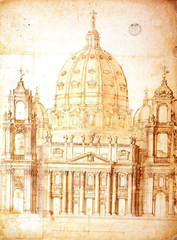 le bernin dessin d un projet de campaniles pour la fa ade de saint pierre 1645 rome. Black Bedroom Furniture Sets. Home Design Ideas