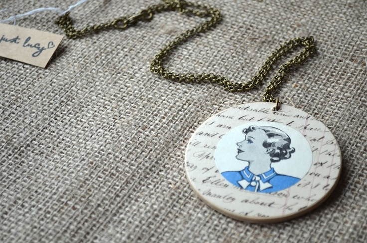 Annie  £15  Vintage paper and wooden necklace   Long Length  www.justlucy.bigcartel.com