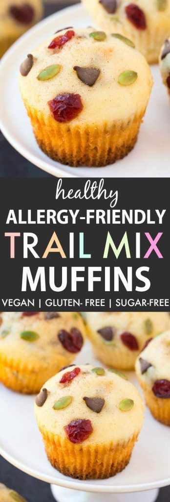 Healthy Trail Mix Muffins (V, GF, DF)- Allergy-Friendly and free from the top 8 allergens, these one bowl bakery style muffins are made with no butter or oil, but are tender and fluffy! {vegan, gluten free, sugar free recipe}- thebigmansworld.com