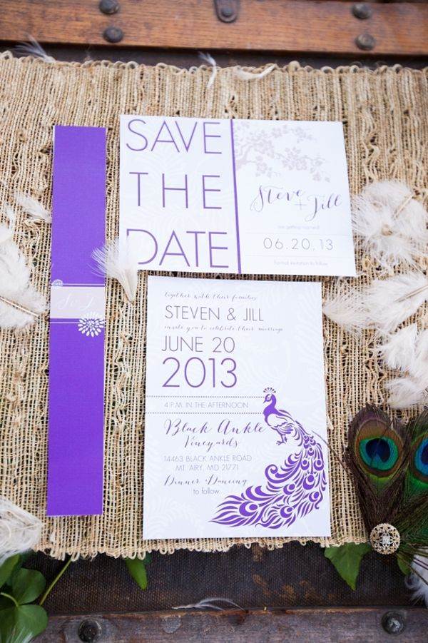 wedding invitations peacock theme%0A Modern purple wedding invitations with peacock theme by KD Creative  From a  modern peacock inspired