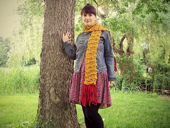 Mustard n' Ketchup Knit Upcycled Scarf by PenelopeHeavenShop, $40.00
