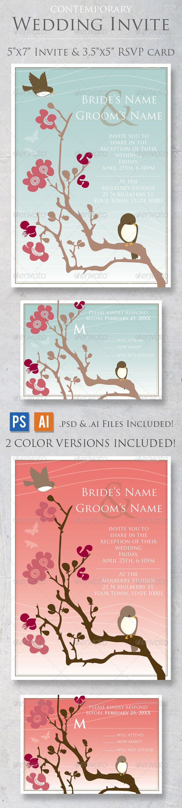 free wedding invitation psd%0A Contemporary Wedding Invite