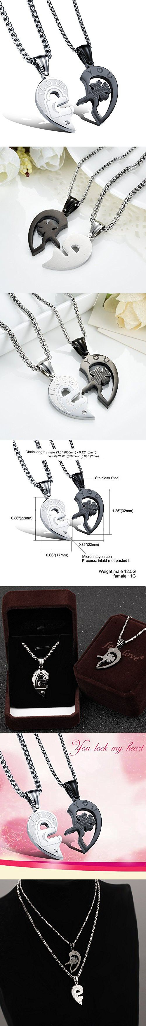 Fate Love His and Her Heart Shape Puzzle Stainless Steel Matching Couples Lover Necklace Set (with gift box)