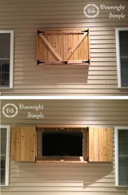 """Super simple outdoor tv cabinet made for 50"""" TV out of pressure treated lumber and some barn style hardware.   The box frame was made out ..."""