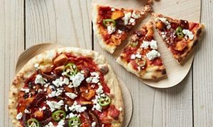 Sweet potato pizza with dates, green chilli and feta