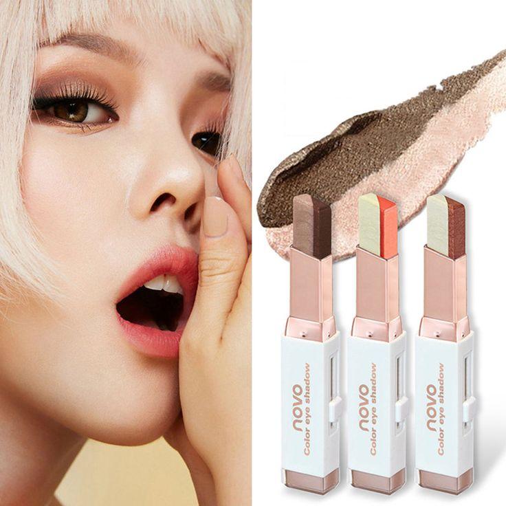 Doble del Color de Sombra de Ojos Maquillaje Sombra de Ojos Perla Pluma de Terciopelo Color Degradado