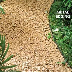 Gravel path tips. The article also shares tips for mulch and stepping stone paths. I like the stepping stones the best.