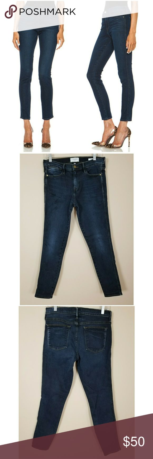 Frame Denim Le High Skinny Jeans in Eaton Wash Brand: Frame Denim Size: 29 Color: Blue Materials: 93% Cotton 5% Polyester 2% Lycra Condition: Gently used no flaws. In this wash the color varies throughout jeans.  Measurements  Waist: 32  Rise: 11  Hips: 34  Inseam: 28  Leg Opening: 6 Frame Denim Jeans Skinny