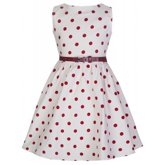 Retro šaty Lindy Bop Mini Audrey White Polka I docela malé slečny chtějí být krásné a co nejvíce se podobat své mamince. Mini kopie dámských retro šatů ve stylu 50. let vhodné na svatbu, Vánoce, dětskou párty, narozeninové focení nebo letní dny. Bílé s červeným puntíkem, příjemná strečová bavlna, pásek součástí.