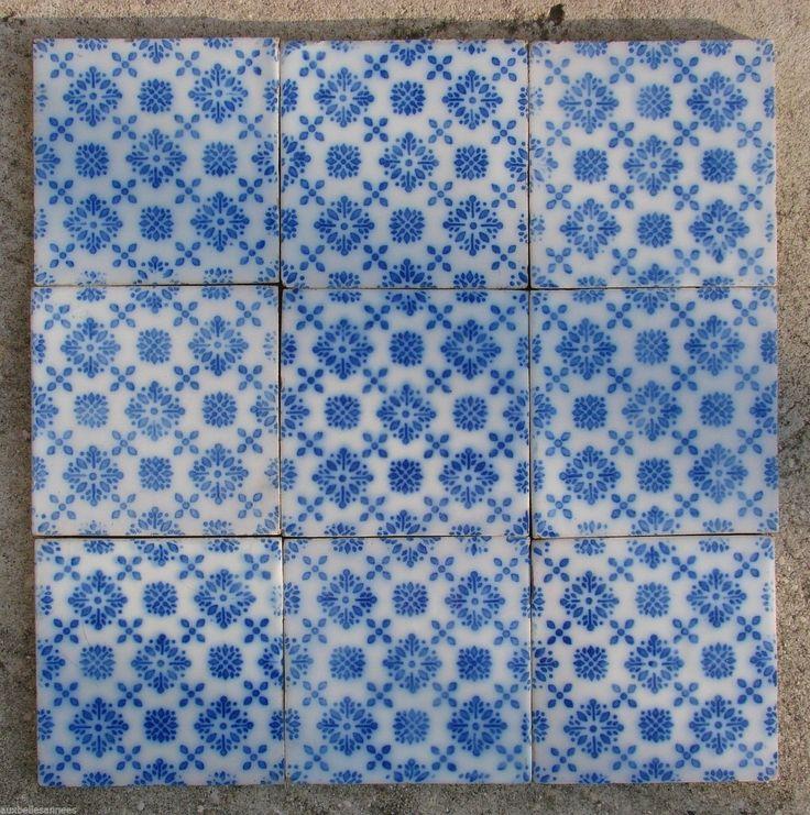 ancien carreau de faience terre cuite motif bleu carrelage ceramique n 1 ebay desvres. Black Bedroom Furniture Sets. Home Design Ideas