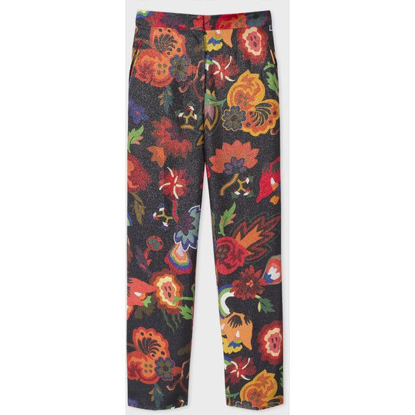 Paul Smith Women's Slim-Fit Glittered Botanical Print Silk-Blend... ($335) ❤ liked on Polyvore featuring pants, floral printed pants, zipper pants, floral pants, zipper trousers and slim trousers