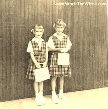 Catholic school uniforms. pretty sure those were from St Peters in NY (wore the same in El Paso TX)