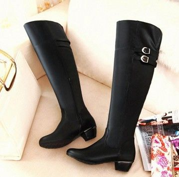 Eu34-47 2013 fall fashion cosplay boots for women leather knee high shoes  plus size