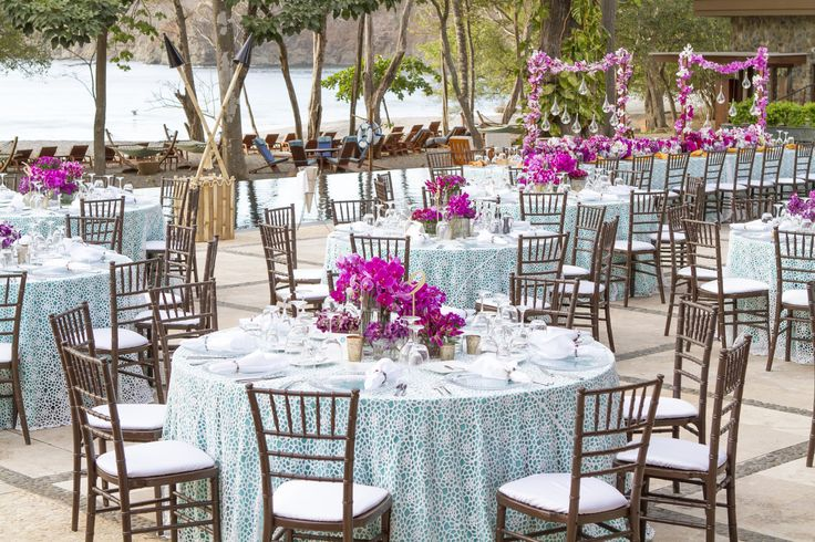Beautiful event décor for wedding reception in the beach club at Peninsula
