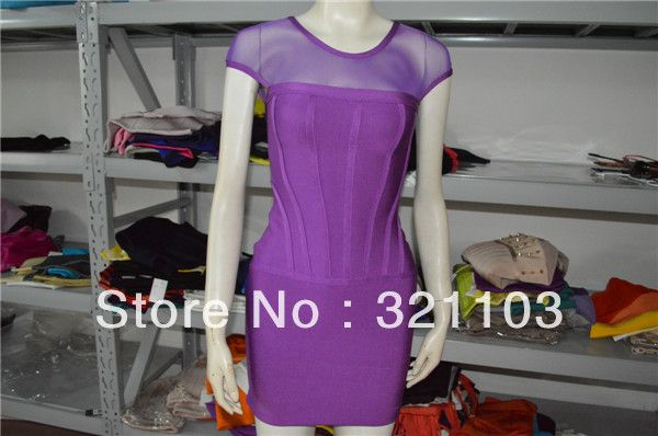 Free shipping luster and glimmer tight fitting bandage dress women purple bandage dress for club lace dresses DM440