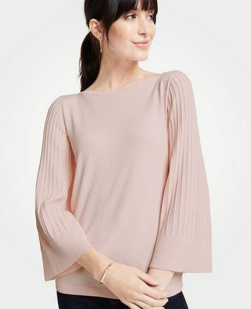 4141078ba17 Ann Taylor Petite Boatneck Pleated Sleeve Sweater can add a tank for side  coverage by the neck