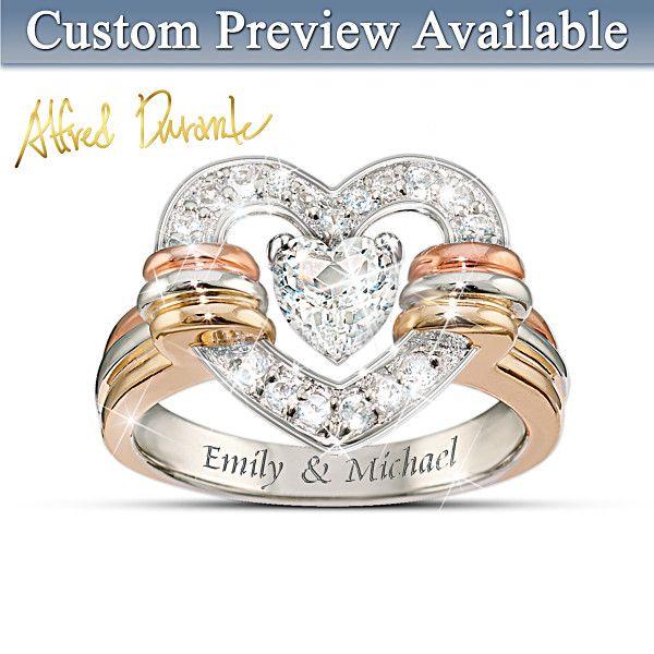 Heart Full Of Love Personalized White Topaz Ring - Bradford Exchange