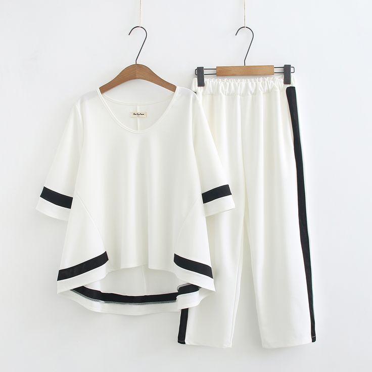 加肥加大码女装2018夏韩版宽松胖mm短袖T恤休闲八分裤两件套200斤-淘宝网