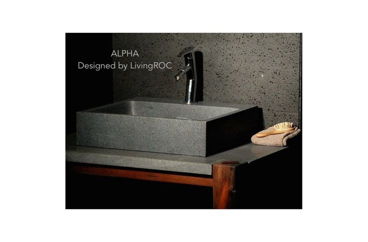Genuine trendy gray granite vessel sink + faucet hole ALPHA
