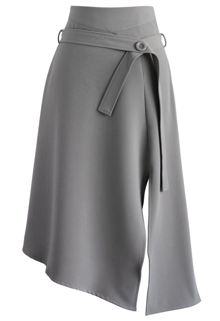 Bravo Split Hem Midi Skirt in Grey - Finely cut and tailored into a beautiful silhouette with a sophisticated split hemline, accompanied with a button closured belt, this wonderful skirt will make your feel pulled-together and fresh in any day of the week!