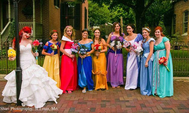 The Most Insanely Detailed Disney-Themed Wedding Ever [ L to R: Ariel, Snow White, Aurora (Sleeping Beauty), Jasmine, Belle, Megara (Hercules), Alice [in Wonderland] ,Cinderella, Giselle (Enchanted)