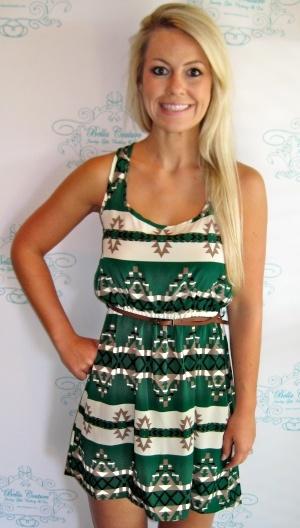 Green Aztec Print Dress. Love!!: Aztec Print Dresses, Dreams Closet, Clothing Sho, Cute Dresses, Dresses Belts, Green Aztec, Beautiful Couture, The Dresses, Aztec Prints Dresses